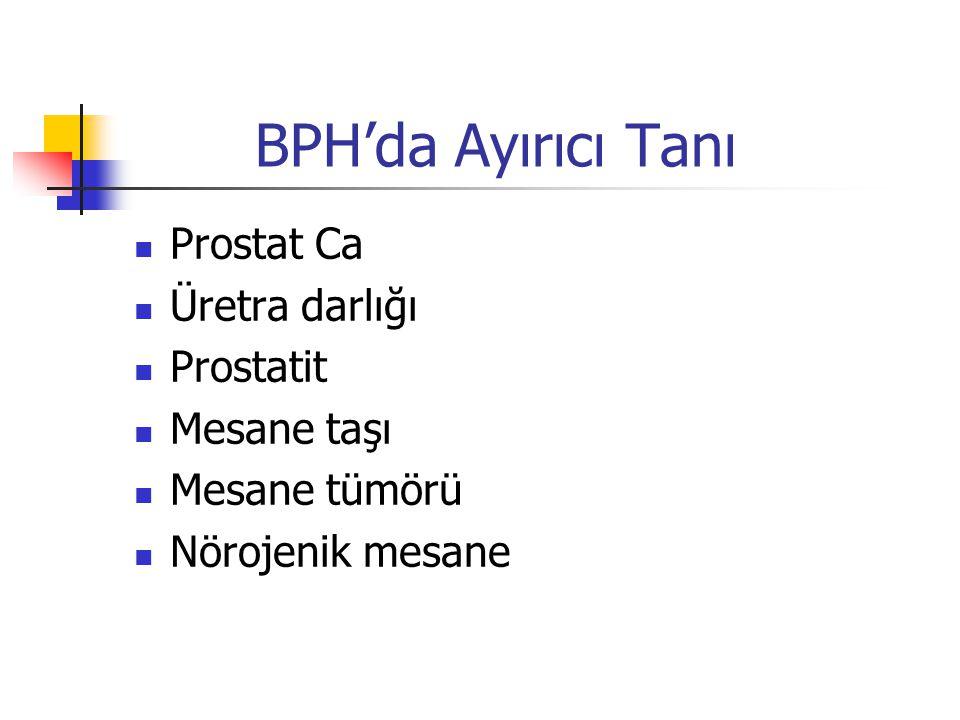 BPH'da Ayırıcı Tanı Prostat Ca Üretra darlığı Prostatit Mesane taşı