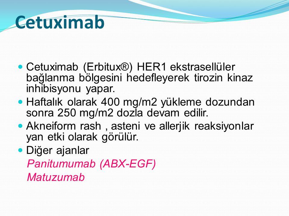 Cetuximab Cetuximab (Erbitux®) HER1 ekstrasellüler bağlanma bölgesini hedefleyerek tirozin kinaz inhibisyonu yapar.
