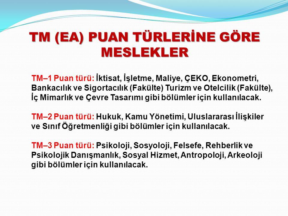 TM (EA) PUAN TÜRLERİNE GÖRE MESLEKLER