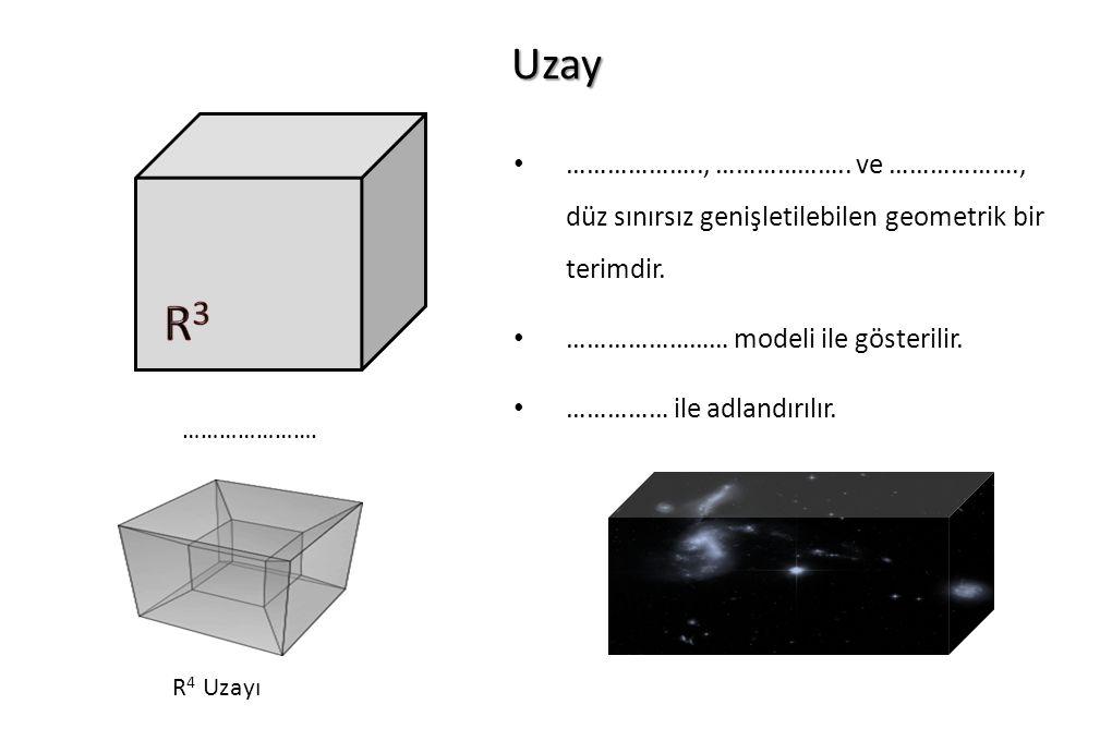 Uzay ……………….., ……………….. ve ………………., düz sınırsız genişletilebilen geometrik bir terimdir. …………………… modeli ile gösterilir.