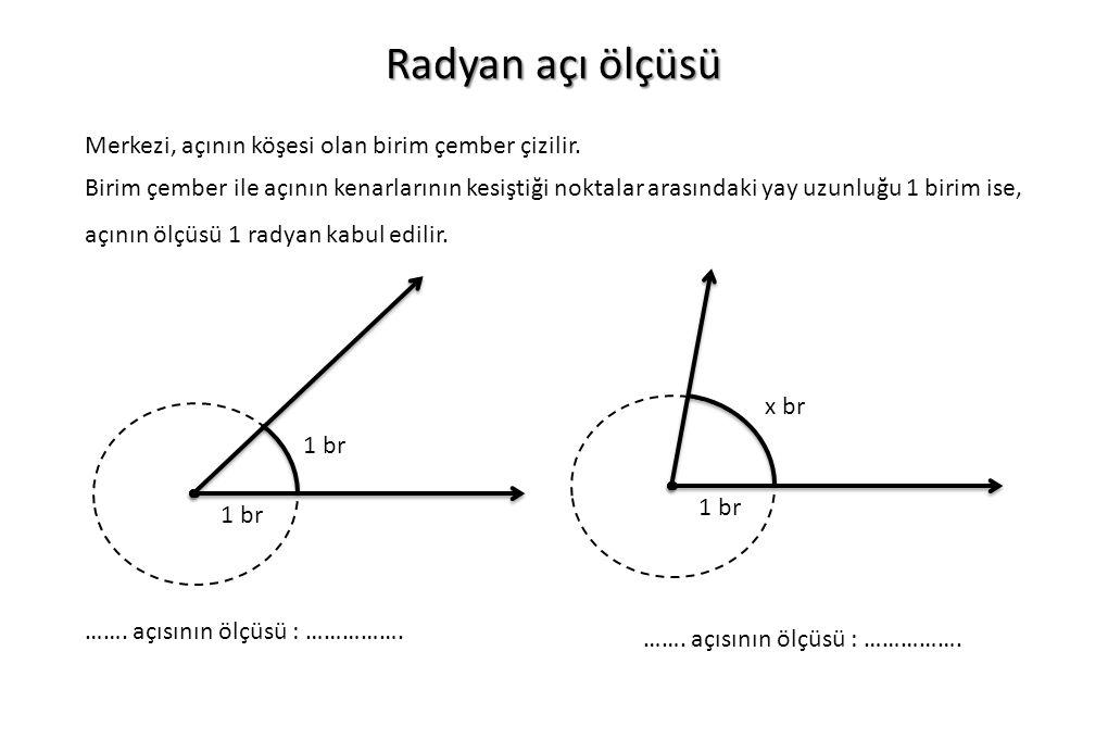 Radyan açı ölçüsü Merkezi, açının köşesi olan birim çember çizilir.