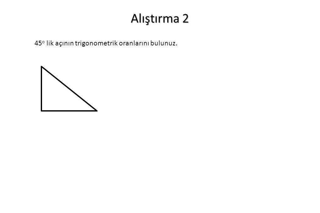 Alıştırma 2 45o lik açının trigonometrik oranlarını bulunuz.