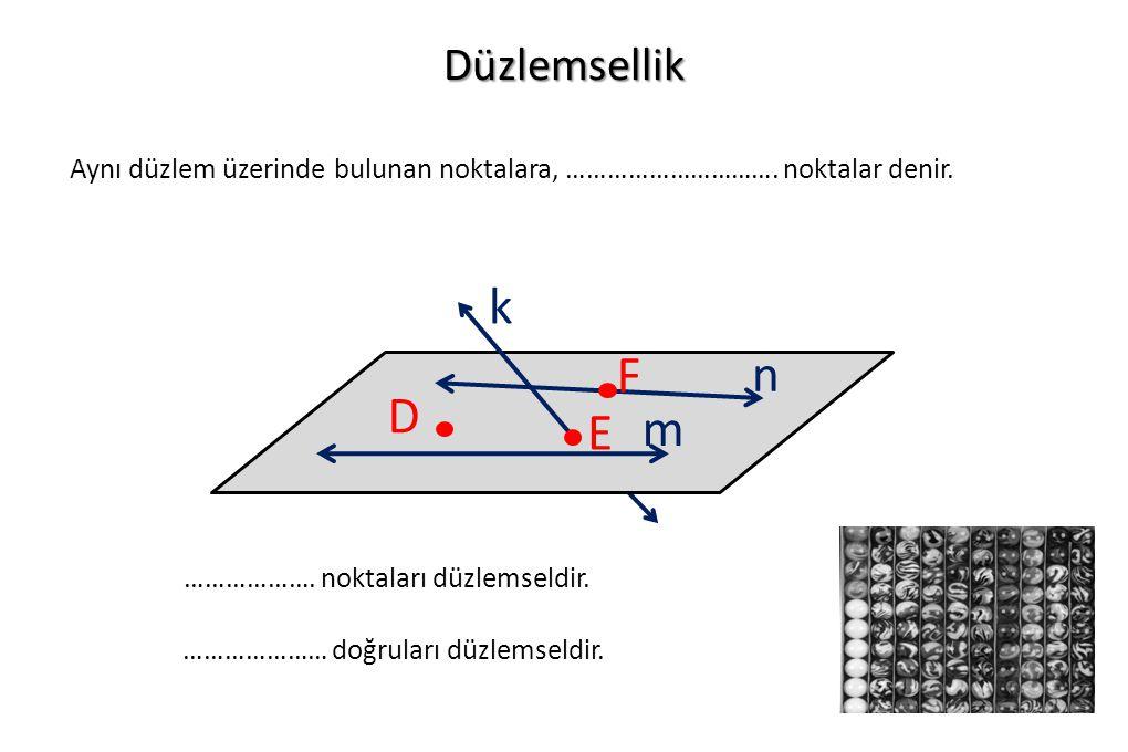 Düzlemsellik Aynı düzlem üzerinde bulunan noktalara, …………………………. noktalar denir. k. F. n. D. E.