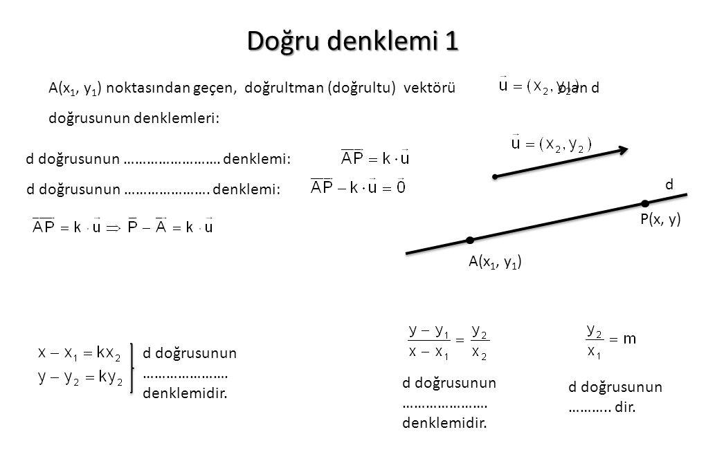 Doğru denklemi 1 A(x1, y1) noktasından geçen, doğrultman (doğrultu) vektörü olan d doğrusunun denklemleri: