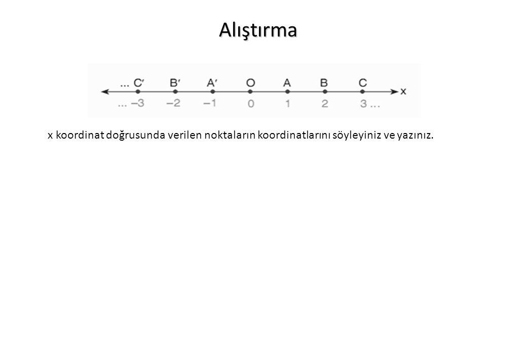 Alıştırma x koordinat doğrusunda verilen noktaların koordinatlarını söyleyiniz ve yazınız.
