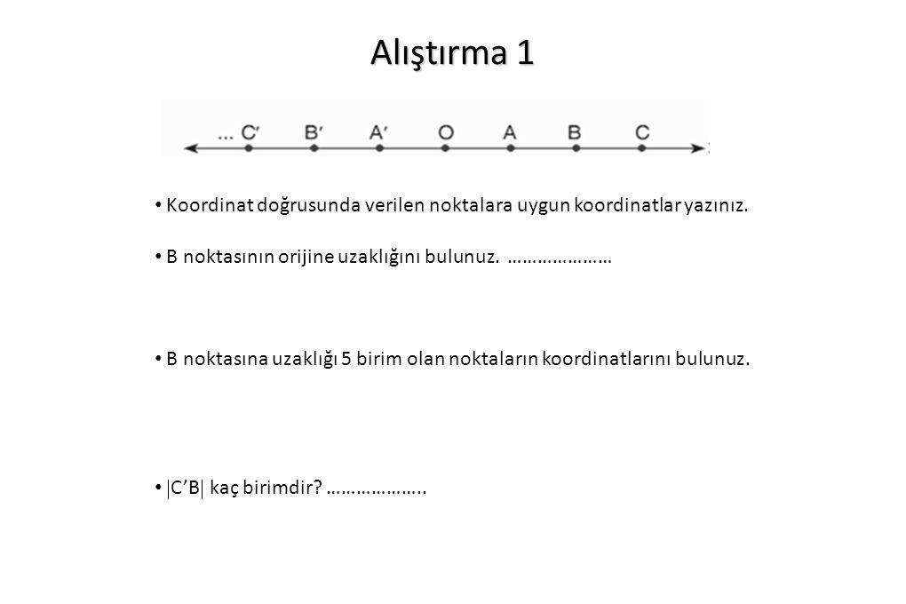 Alıştırma 1 Koordinat doğrusunda verilen noktalara uygun koordinatlar yazınız. B noktasının orijine uzaklığını bulunuz. …………………