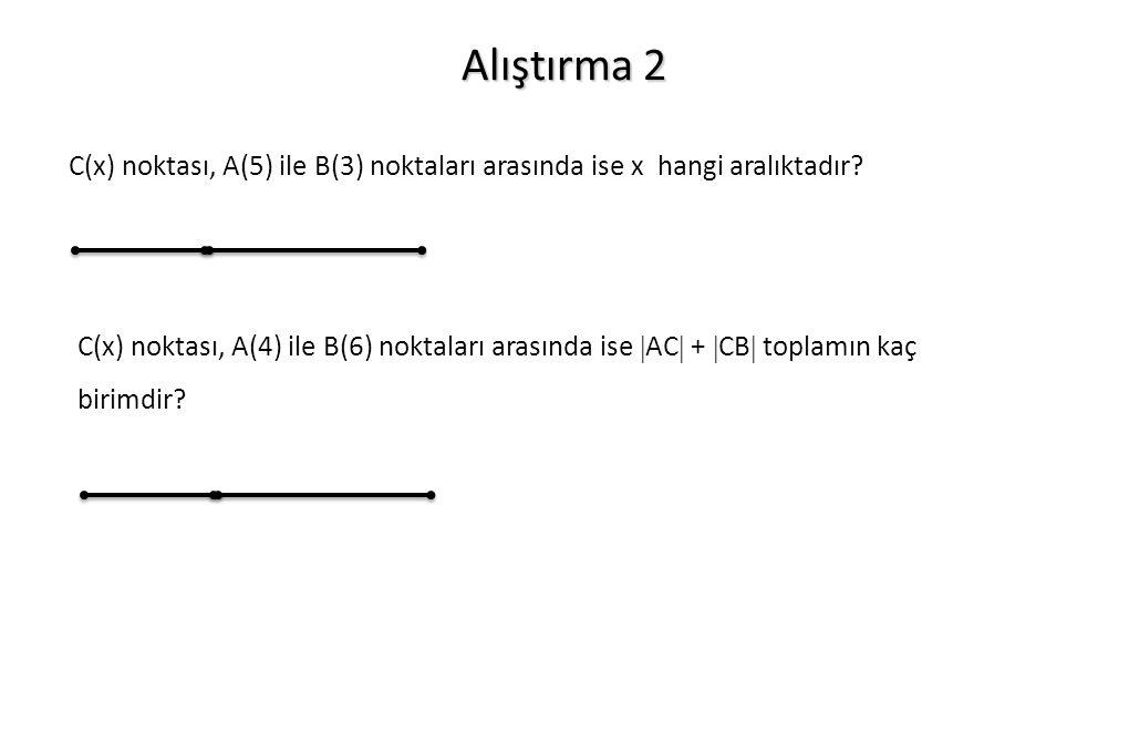 Alıştırma 2 C(x) noktası, A(5) ile B(3) noktaları arasında ise x hangi aralıktadır