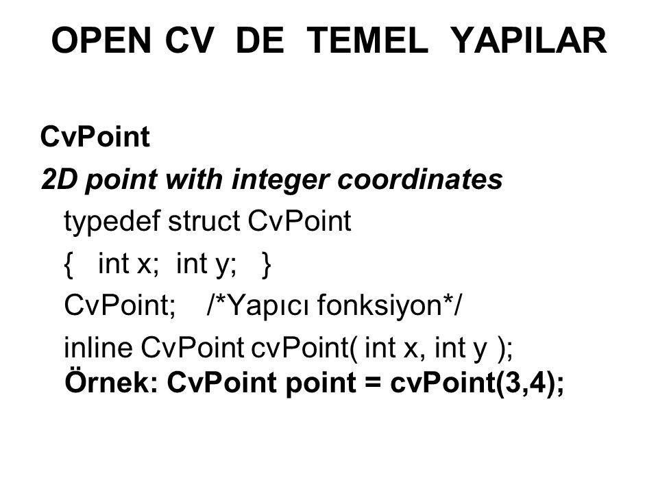 OPEN CV DE TEMEL YAPILAR