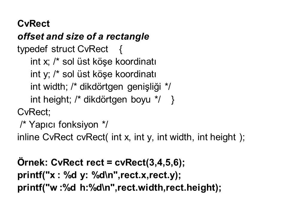 CvRect offset and size of a rectangle. typedef struct CvRect { int x; /* sol üst köşe koordinatı.