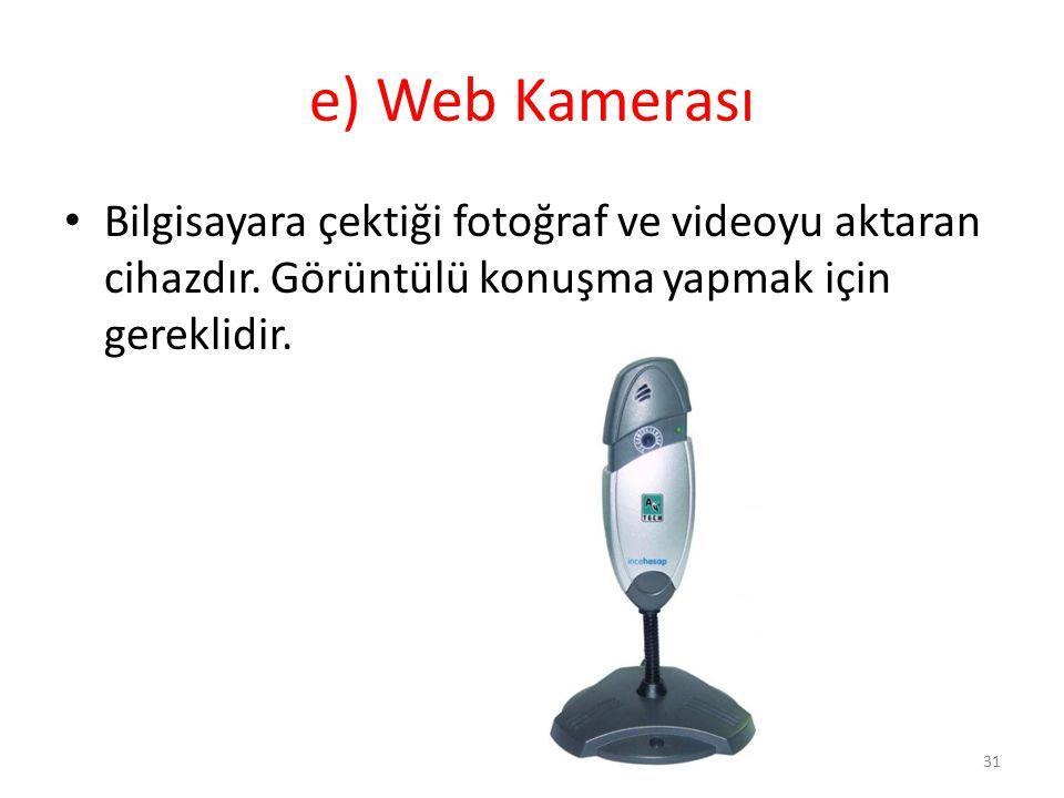 e) Web Kamerası Bilgisayara çektiği fotoğraf ve videoyu aktaran cihazdır.