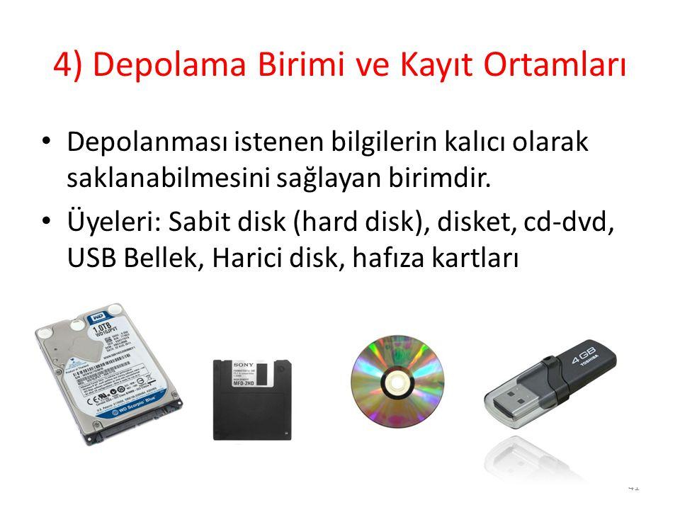 4) Depolama Birimi ve Kayıt Ortamları