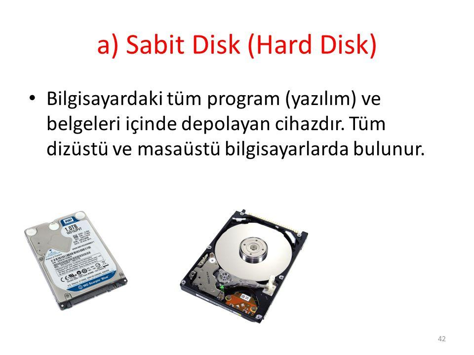 a) Sabit Disk (Hard Disk)