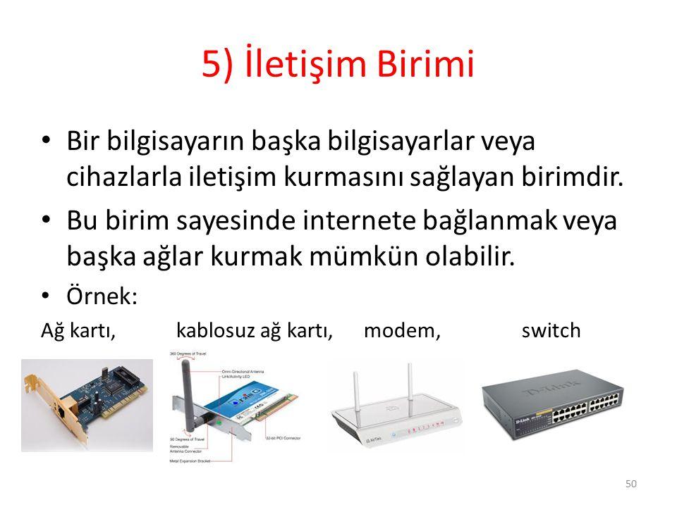 5) İletişim Birimi Bir bilgisayarın başka bilgisayarlar veya cihazlarla iletişim kurmasını sağlayan birimdir.