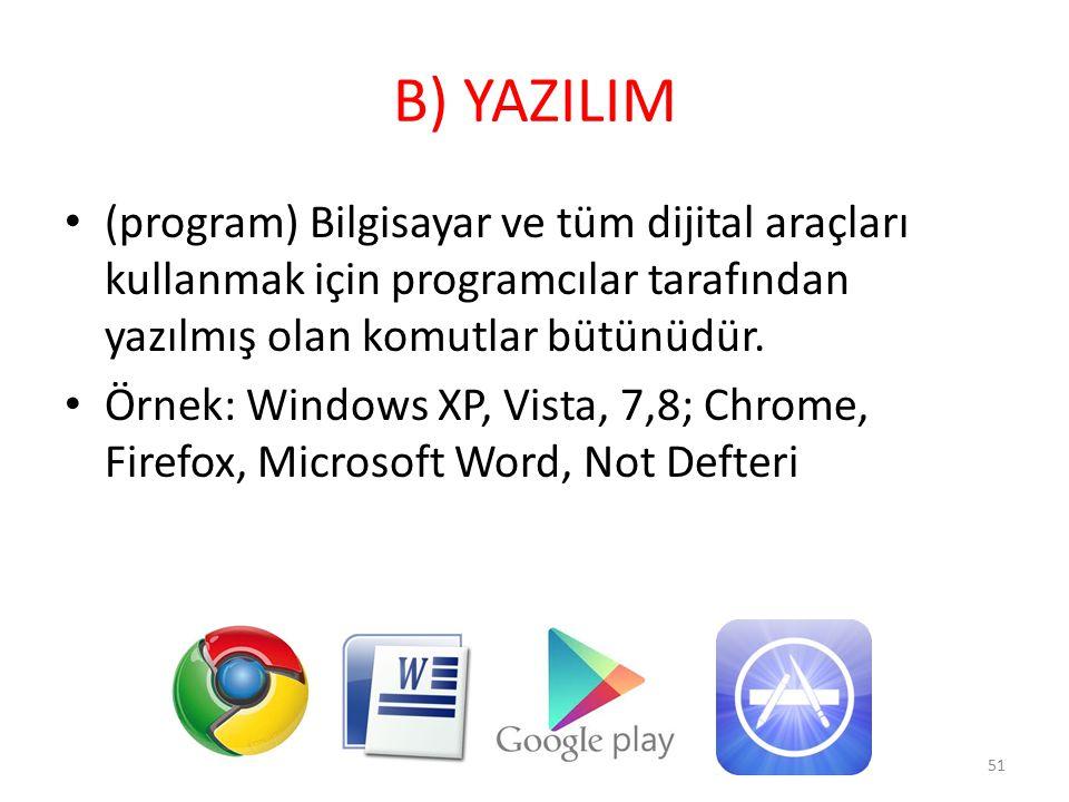 B) YAZILIM (program) Bilgisayar ve tüm dijital araçları kullanmak için programcılar tarafından yazılmış olan komutlar bütünüdür.