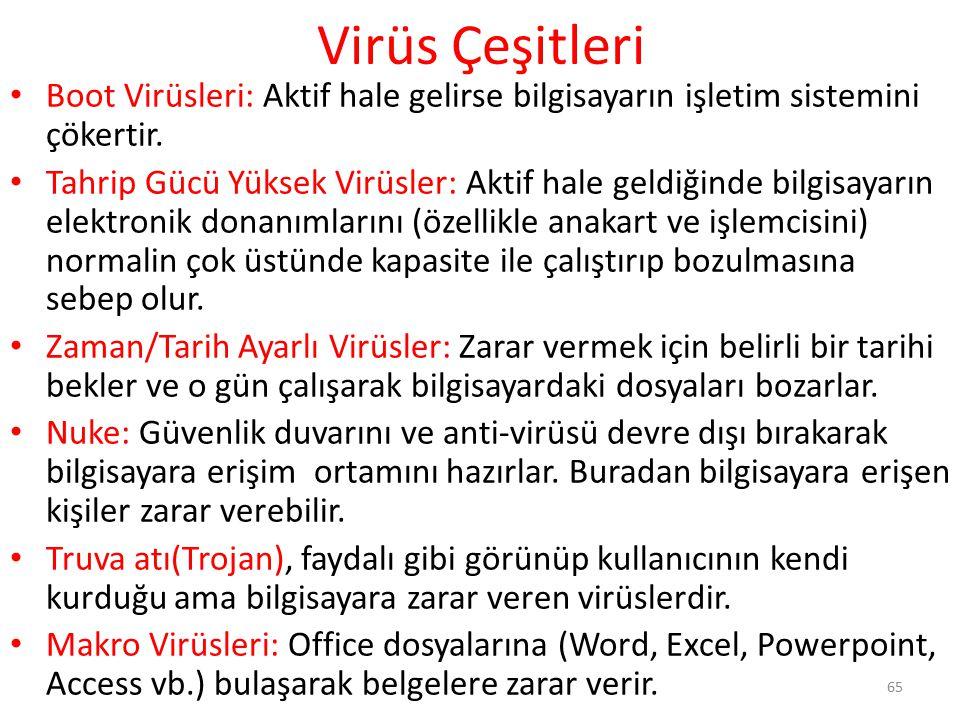Virüs Çeşitleri Boot Virüsleri: Aktif hale gelirse bilgisayarın işletim sistemini çökertir.