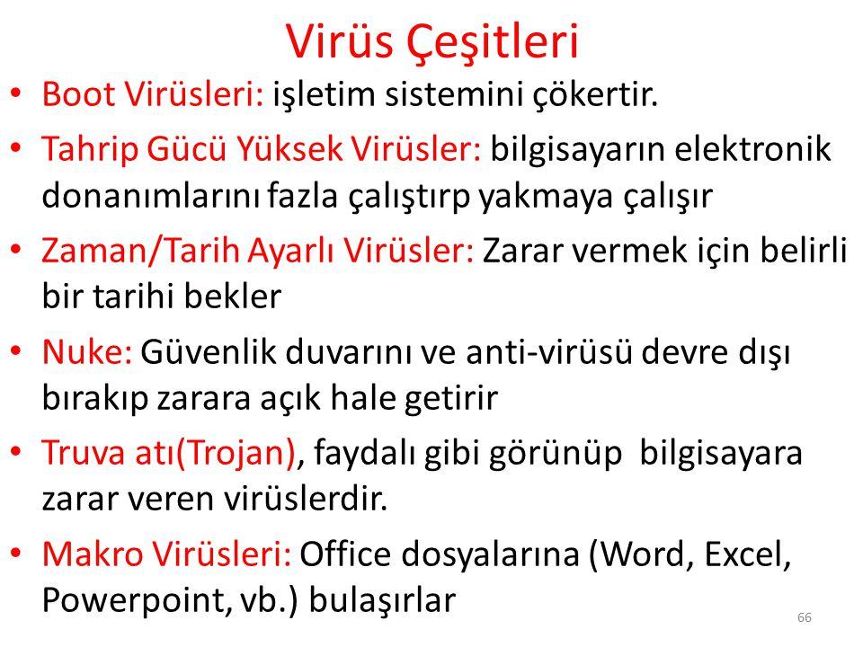 Virüs Çeşitleri Boot Virüsleri: işletim sistemini çökertir.