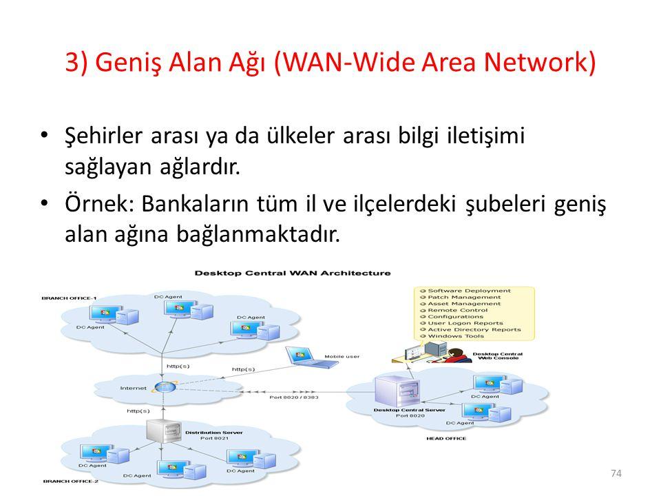 3) Geniş Alan Ağı (WAN-Wide Area Network)