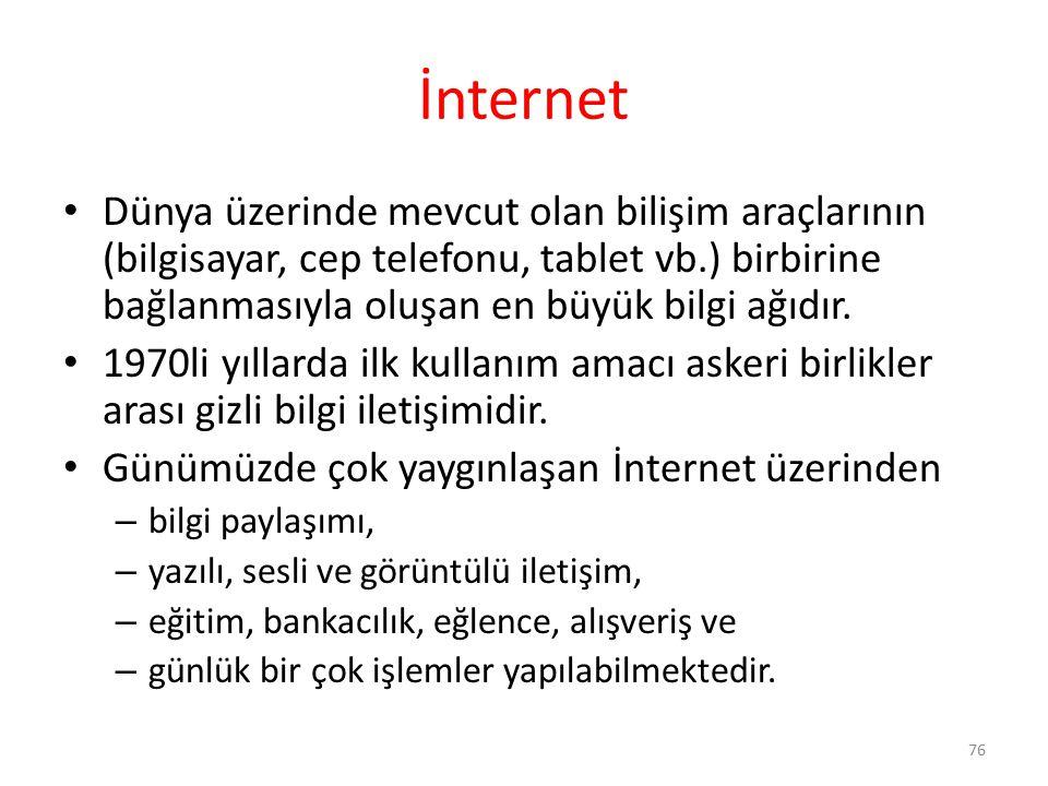 İnternet Dünya üzerinde mevcut olan bilişim araçlarının (bilgisayar, cep telefonu, tablet vb.) birbirine bağlanmasıyla oluşan en büyük bilgi ağıdır.