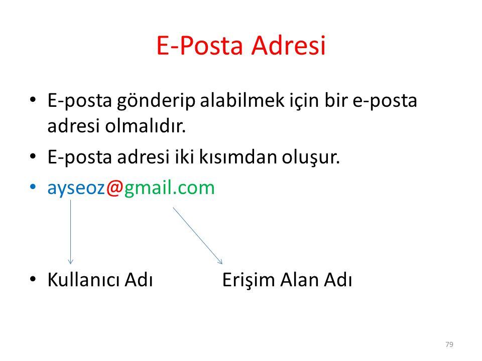 E-Posta Adresi E-posta gönderip alabilmek için bir e-posta adresi olmalıdır. E-posta adresi iki kısımdan oluşur.