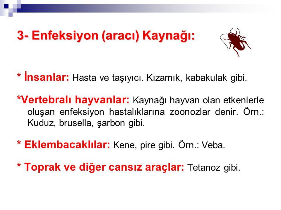 3- Enfeksiyon (aracı) Kaynağı: