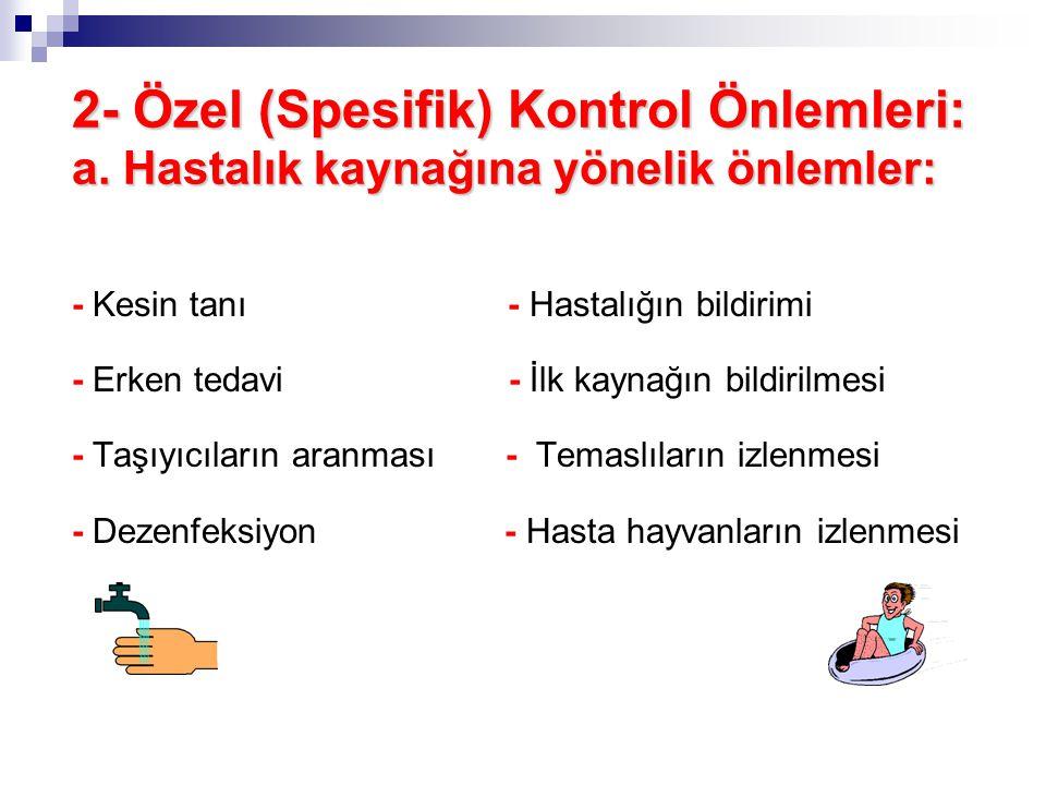 2- Özel (Spesifik) Kontrol Önlemleri: a