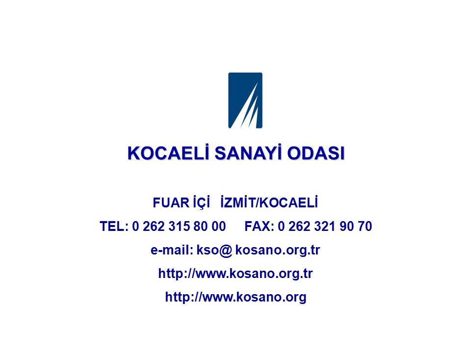 FUAR İÇİ İZMİT/KOCAELİ e-mail: kso@ kosano.org.tr