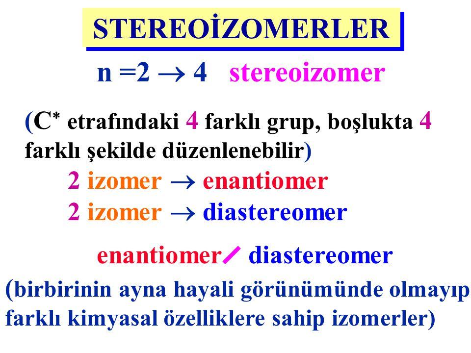 STEREOİZOMERLER n =2  4 stereoizomer