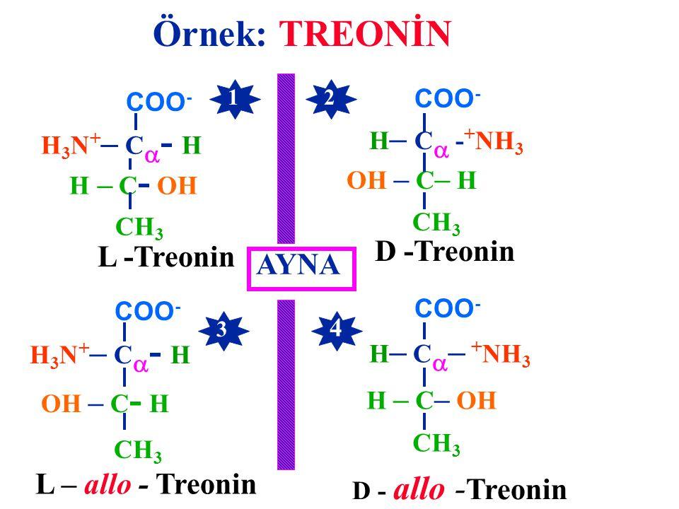 Örnek: TREONİN D -Treonin L -Treonin AYNA L – allo - Treonin