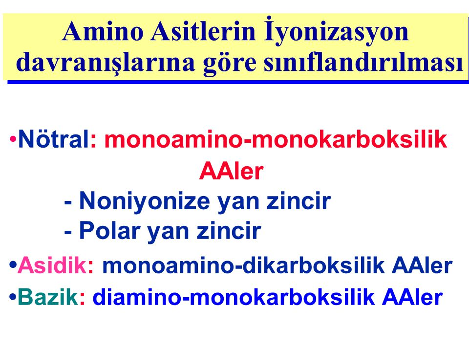Amino Asitlerin İyonizasyon davranışlarına göre sınıflandırılması