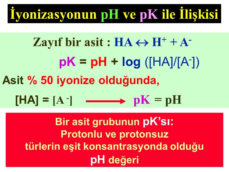 Bir asit grubunun pK'sı: türlerin eşit konsantrasyonda olduğu