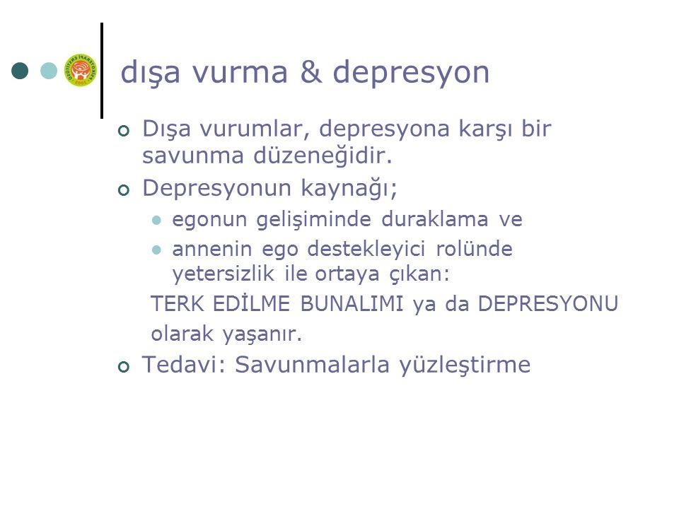 dışa vurma & depresyon Dışa vurumlar, depresyona karşı bir savunma düzeneğidir. Depresyonun kaynağı;