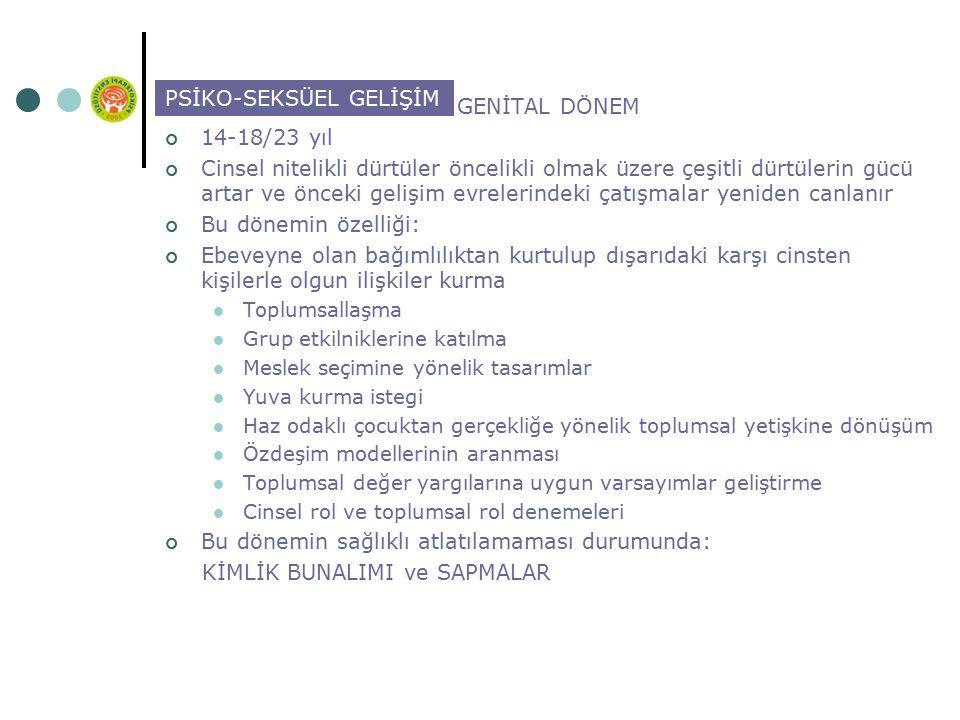PSİKO-SEKSÜEL GELİŞİM GENİTAL DÖNEM 14-18/23 yıl