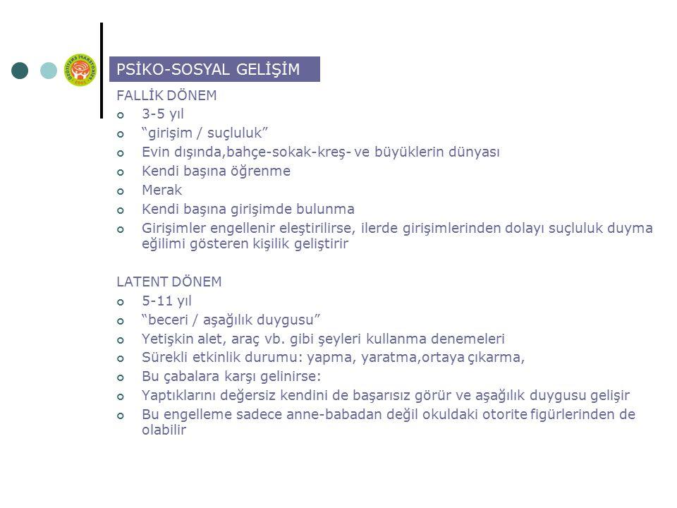 PSİKO-SOSYAL GELİŞİM FALLİK DÖNEM 3-5 yıl girişim / suçluluk