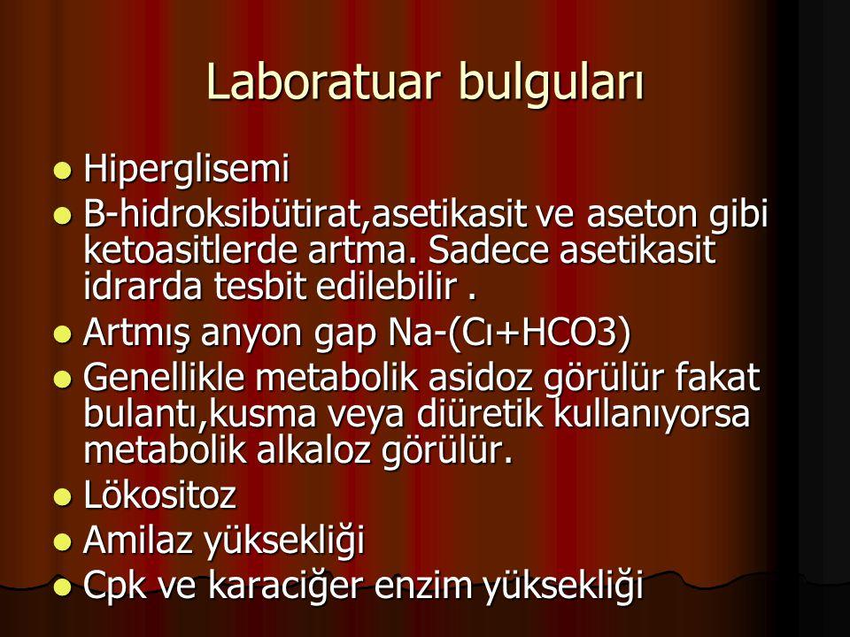 Laboratuar bulguları Hiperglisemi