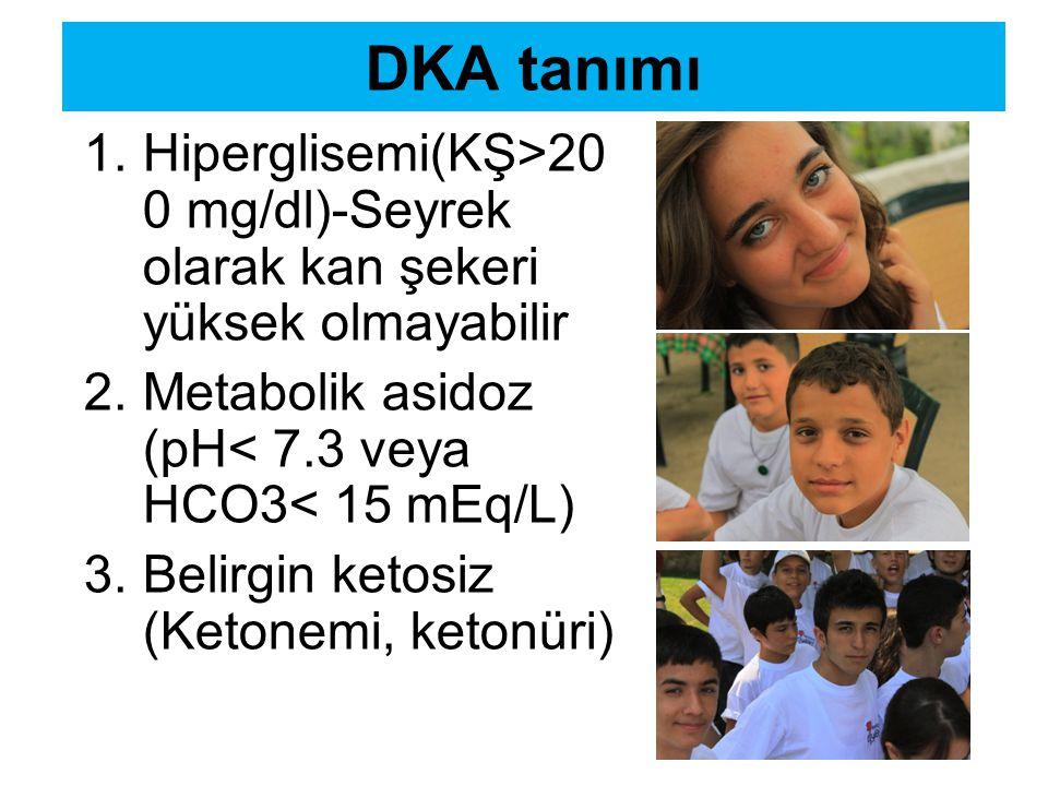 DKA tanımı Hiperglisemi(KŞ>200 mg/dl)-Seyrek olarak kan şekeri yüksek olmayabilir. Metabolik asidoz (pH< 7.3 veya HCO3< 15 mEq/L)