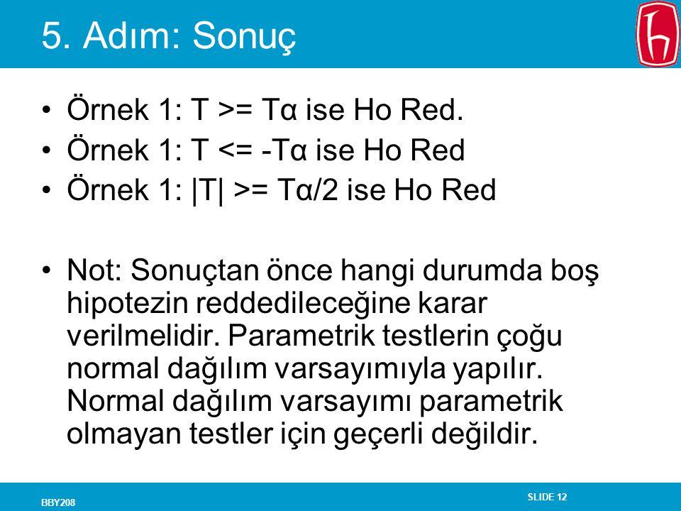 5. Adım: Sonuç Örnek 1: T >= Tα ise Ho Red.