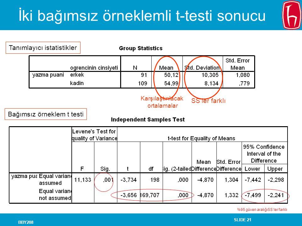 İki bağımsız örneklemli t-testi sonucu