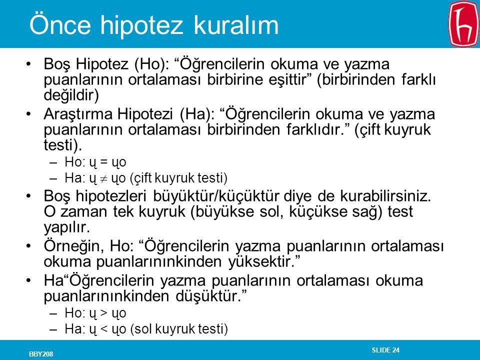 Önce hipotez kuralım Boş Hipotez (Ho): Öğrencilerin okuma ve yazma puanlarının ortalaması birbirine eşittir (birbirinden farklı değildir)