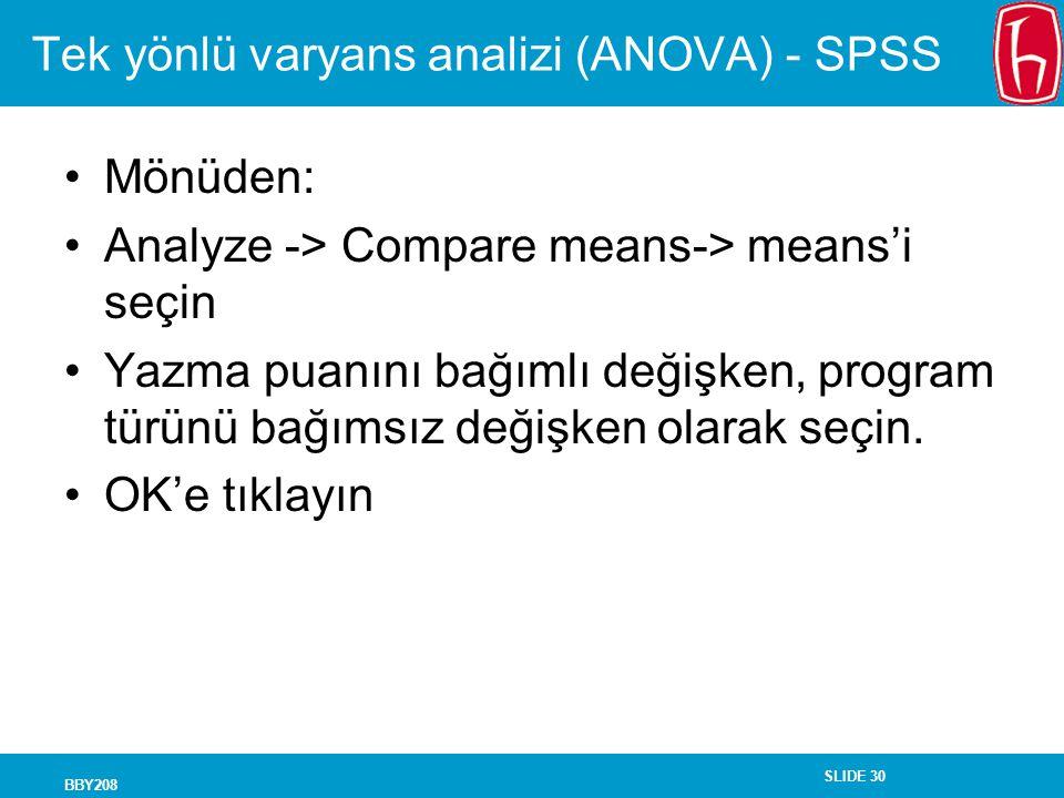 Tek yönlü varyans analizi (ANOVA) - SPSS