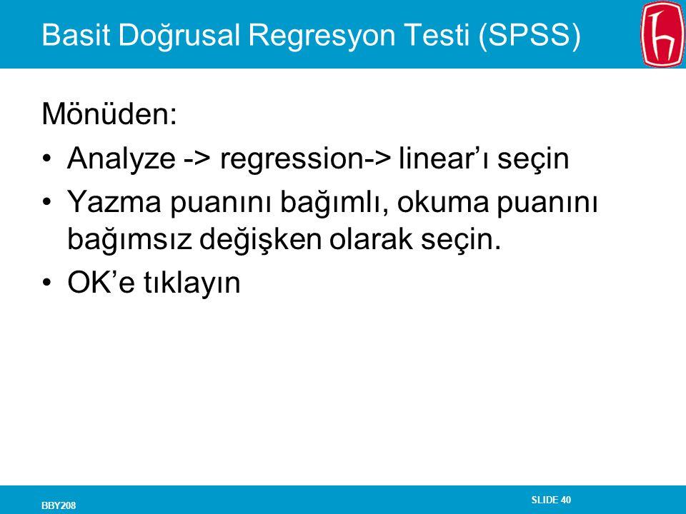 Basit Doğrusal Regresyon Testi (SPSS)