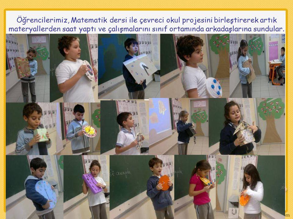 Öğrencilerimiz, Matematik dersi ile çevreci okul projesini birleştirerek artık materyallerden saat yaptı ve çalışmalarını sınıf ortamında arkadaşlarına sundular.