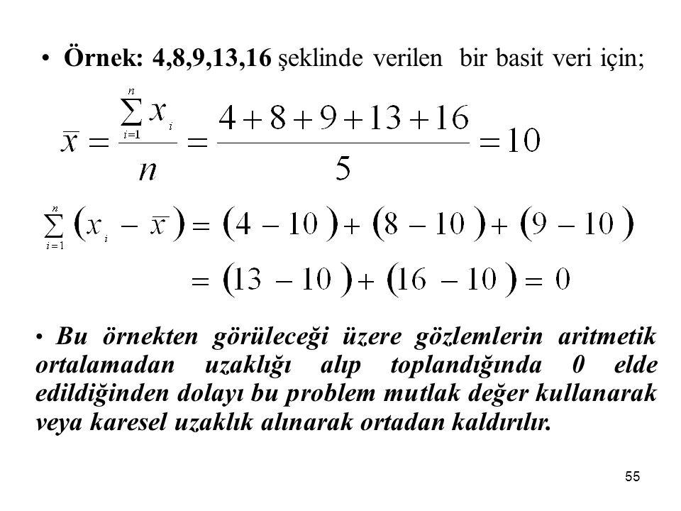 Örnek: 4,8,9,13,16 şeklinde verilen bir basit veri için;