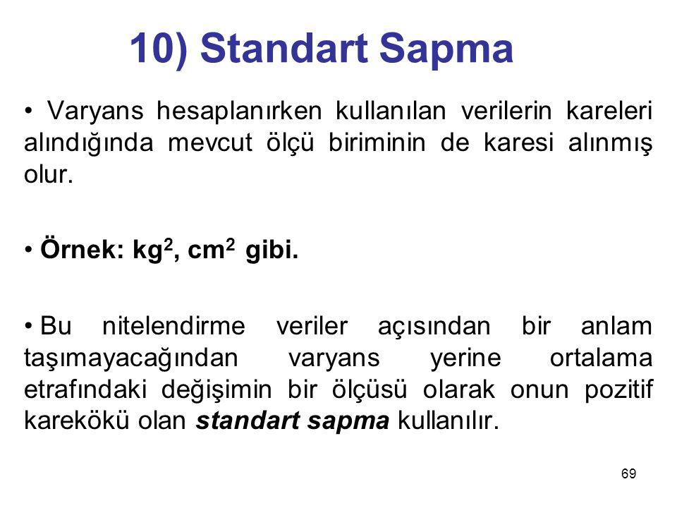 10) Standart Sapma Varyans hesaplanırken kullanılan verilerin kareleri alındığında mevcut ölçü biriminin de karesi alınmış olur.