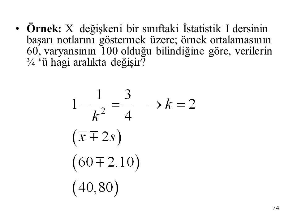 Örnek: X değişkeni bir sınıftaki İstatistik I dersinin başarı notlarını göstermek üzere; örnek ortalamasının 60, varyansının 100 olduğu bilindiğine göre, verilerin ¾ 'ü hagi aralıkta değişir
