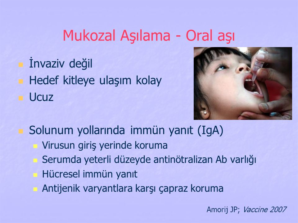 Mukozal Aşılama - Oral aşı