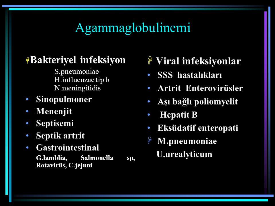 Agammaglobulinemi  Viral infeksiyonlar SSS hastalıkları