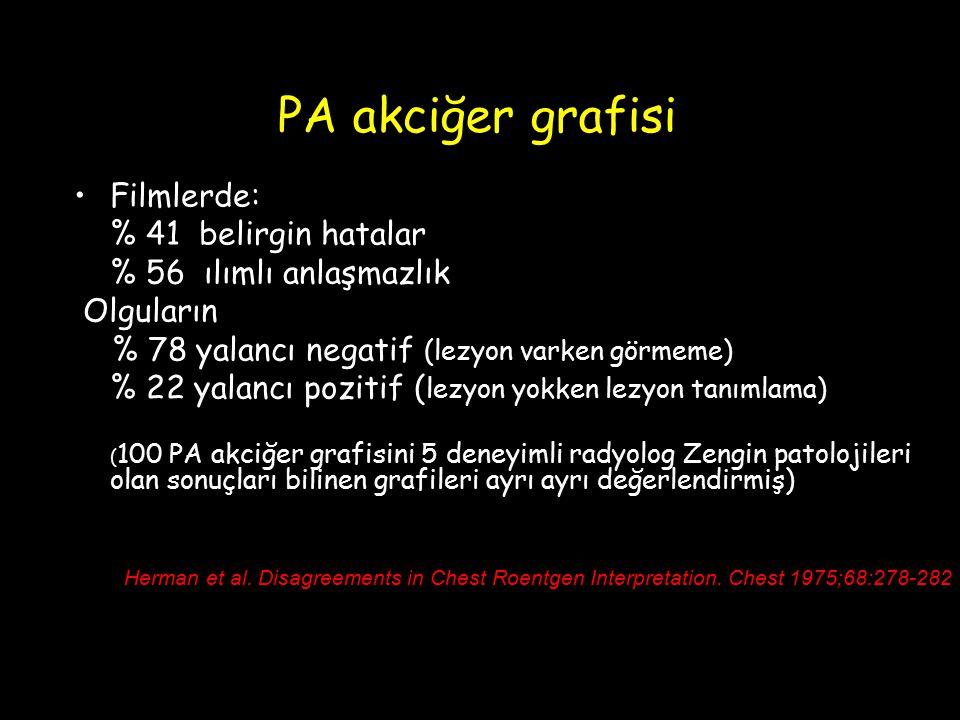 PA akciğer grafisi Filmlerde: % 41 belirgin hatalar