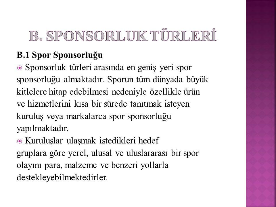 B. SPONSORLUK TÜRLERİ B.1 Spor Sponsorluğu