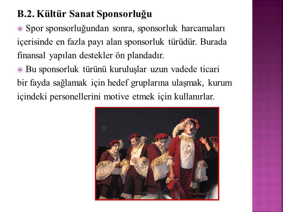 B.2. Kültür Sanat Sponsorluğu