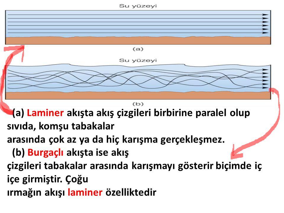 (a) Laminer akışta akış çizgileri birbirine paralel olup sıvıda, komşu tabakalar